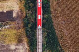 Aerial view of train staying on track