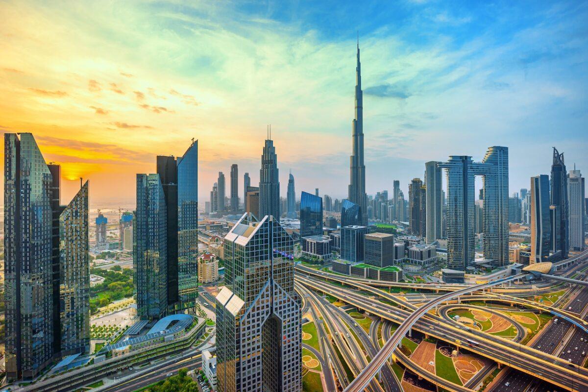 Dubai skyline with Burj Khalifa in color