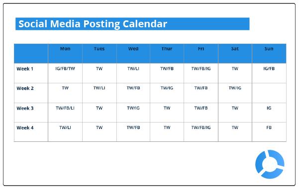 template for social media posting calendar real estate