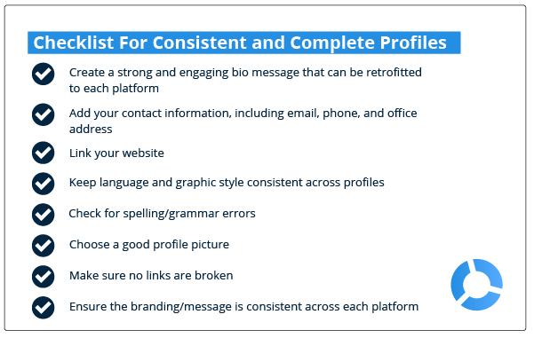 Checklist for complete and consistent social media profiles in real estate