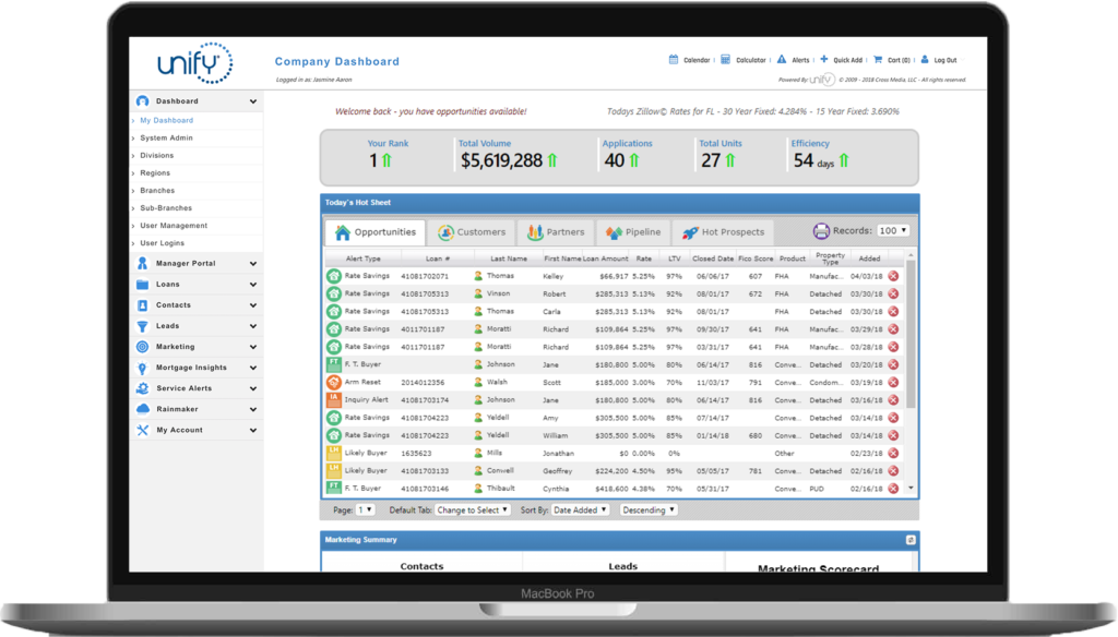 Unify mortgage platform on laptop